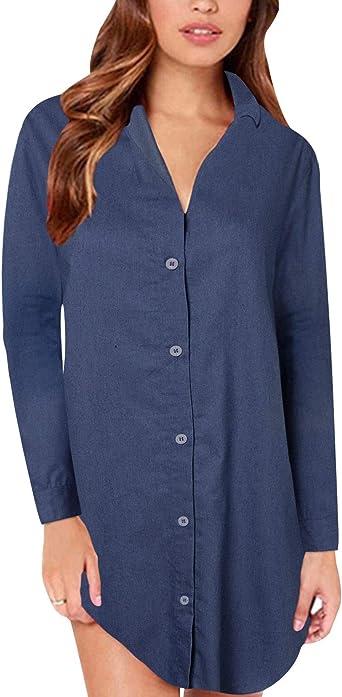 Style Dome Túnica Mujer Blusa Larga de Gran tamaño Mini Vestido de Mujer Elegante Otoño Invierno Azul oscuro-C07795 S