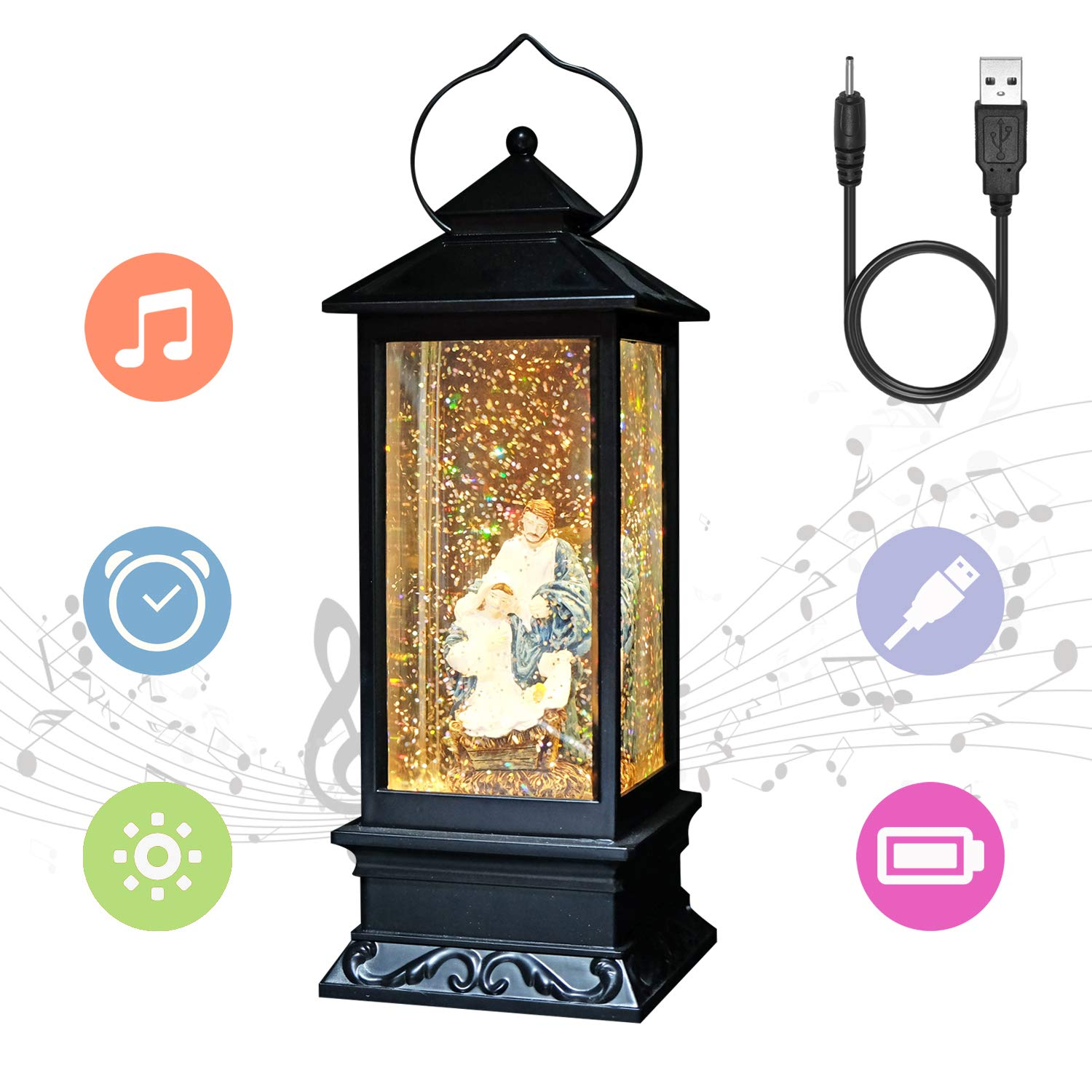 Eldnacele Christmas Navitity Scene Lantern Snow Globe Decoration Plays Music, USB to DC Cable Timer Included, Holiday Decorative Table Centerpiece 12 Inches (Jehovah)