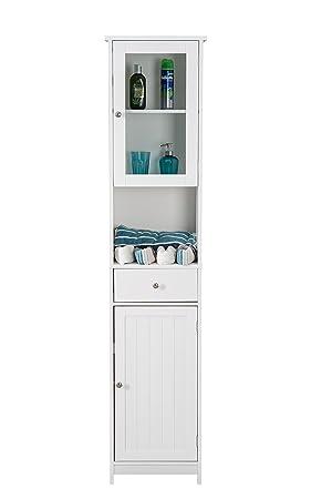yakoe tall bathroom storage unit wood tallboy cabinet cupboard rh amazon co uk bathroom storage units ikea bathroom storage unit white