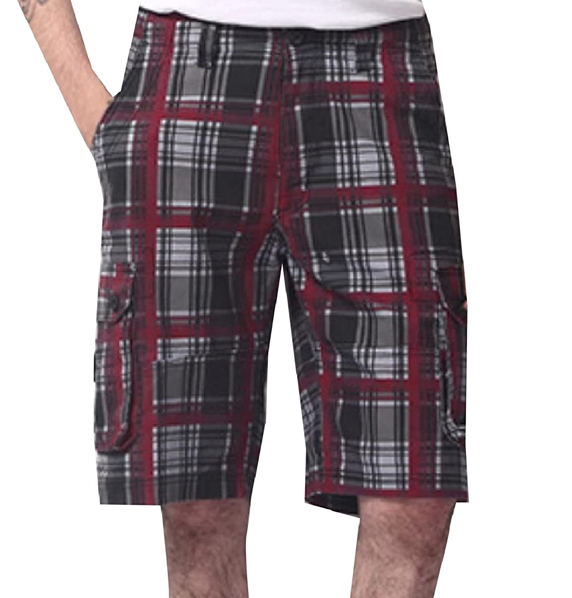 Howme Mens Summer Classic Plus-Size Breathable Classic Plaid Beach Shorts