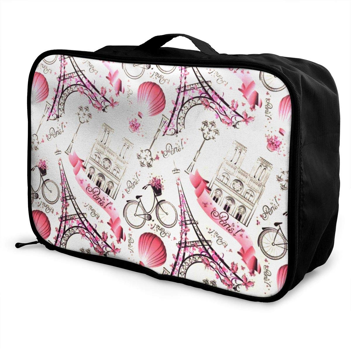 Party Vacation Holiday Tote Bag In Trolley Handle Travel Duffle Bag Pink Paris Eiffel Tower And Balloon Weekender Bag Waterproof Foldable Nylon Luggage Duffel Bag For Sports Gym