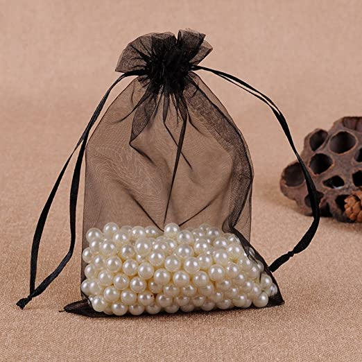 100pcs Organza Drawstring Pouches Jewelry Party Wedding Favor Gift Bags 6X9 Black