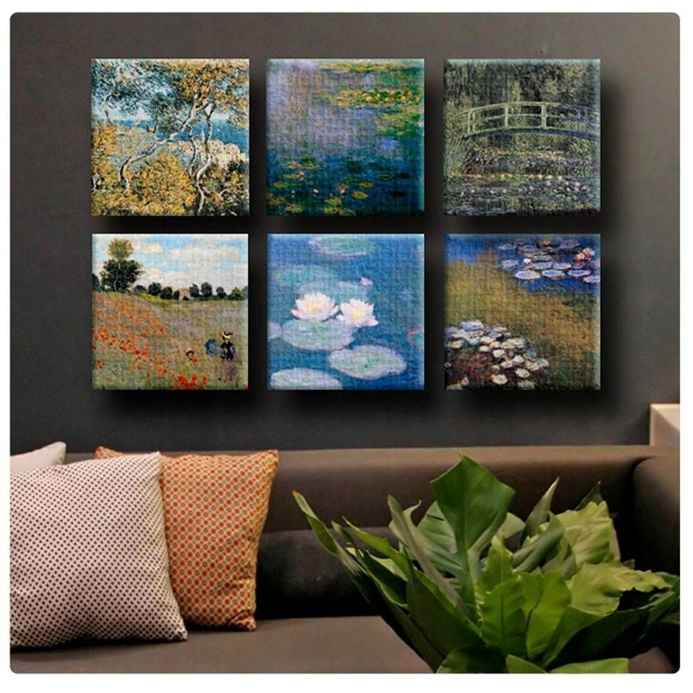 Alonline Art - Water Lily Bordighera Wild Poppies by Claude Monet | Framed Stretched Canvas on a Ready to Hang Frame - 100% Cotton - Gallery Wrapped | 20''x20'' - 51x51cm | Set of 6 Lot | HD Paint