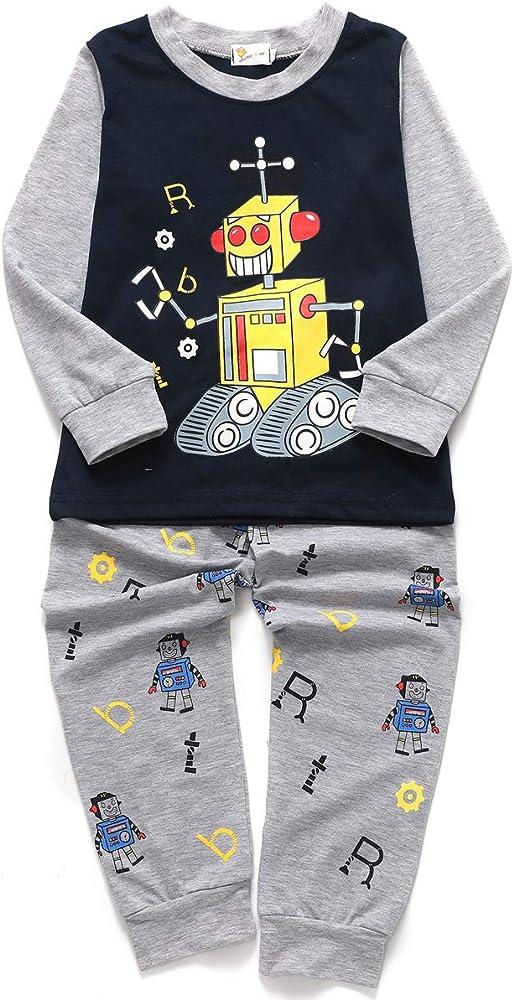 feb1313686 Little Hand Jungen Zweiteiliger Schlafanzug Baumwolle Lange Nachtwäsche  Kinder Pyjama- Gr. 92(Herstellergröße