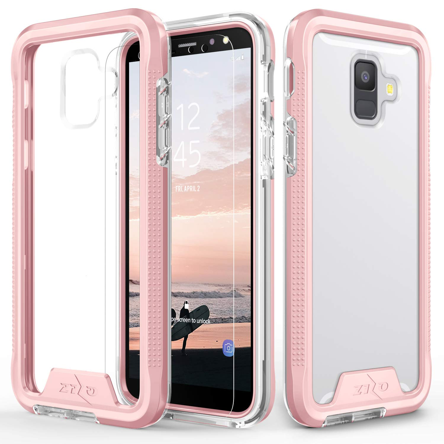 Zizo ION Series Compatible with Samsung Galaxy A6 case Military Grade Drop Tested with Tempered Glass Screen Protector (Rose Gold & Clear)