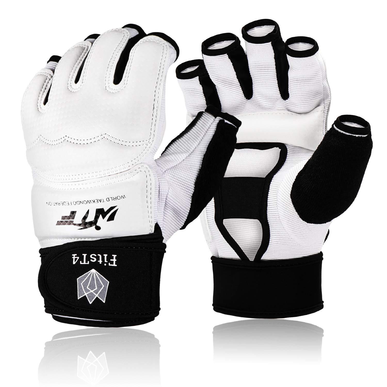 FitsT4 Half Mitts UFC MMA Karate Training Boxing Punch Bag Kickboxing Sparring Grappling Martial Arts Muay Thai Taekwondo Wrist Wraps Support Gloves for Women Men Kids White S