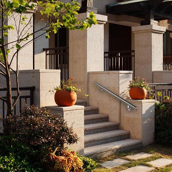 balcone Venatura del legno scuro AUFUN Corrimano Scale in Acciaio inox 200cm per corrimano esterno tasselli di Metallo parapetto Fissaggio a Muro
