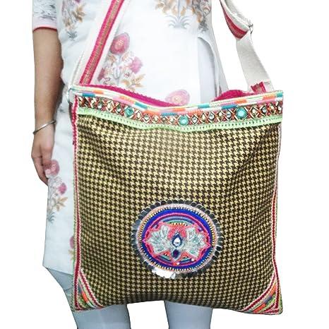 bolsos de mano de tela de algodón indio bordado amarillo ...