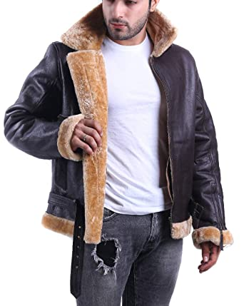 136e9205e LeatherJacket4 Tom Hardy Dunkirk Farrier Brown Shearling Bomber Real Goat  Leather Jacket