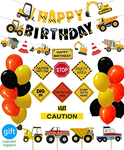 CONSTRUCTION Birthday Zone PLASTIC TABLE COVER ~ Birthday Party Supplies Cloth
