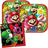 Cedar Crate Market Super Mario Party Supplies Pack for 16 Guests Includes: 16 Dessert Plates and 16 Beverage Napkins,Red…