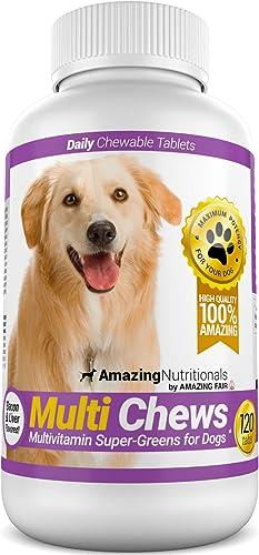 Amazing Multivitamin for Dogs – Super-Green Dog Vitamin Bacon Flavored Treats – 120 Chews