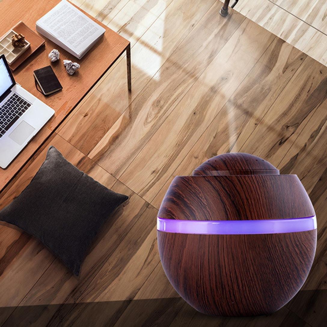 500ML Aire Humidificador Aroma, Zolimx UltrasóNico 7 Color LED Cambiante USB Aceite Esencial Difusor (A)