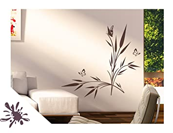 Exklusivpro Wandtattoo Pflanze See Gras Mit Schmetterlinge Für Wohnzimmer  Schlafzimmer Flur Oder Diele (jap42g