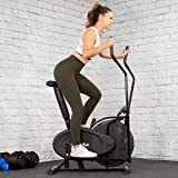 Dual Action Elliptical Fan Bike Cross Trainer Air Resistance System Machine Exercise Workout w/LCD Monitor