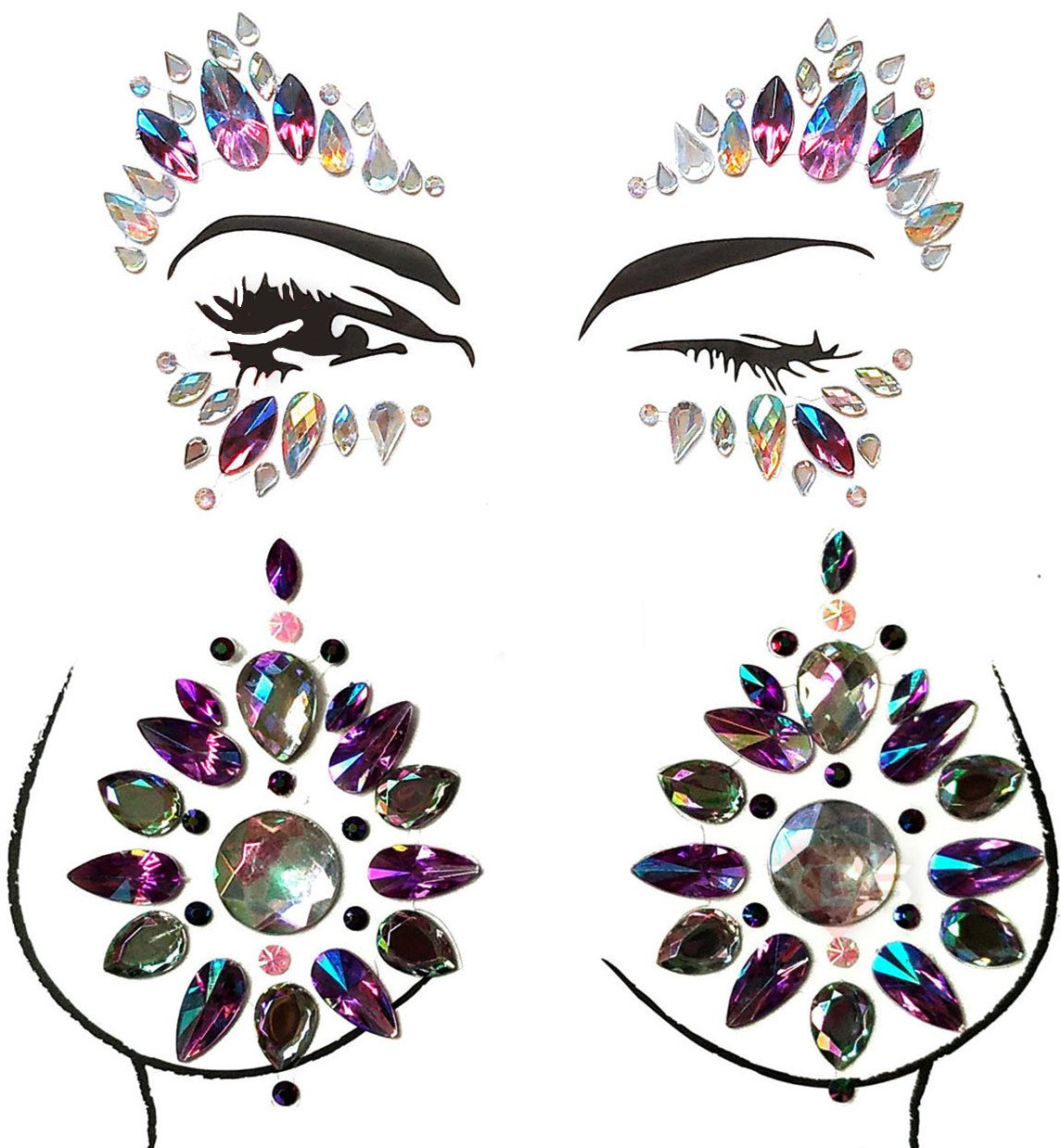 MineSign 8 Pack Face Jewels Festival Tattoo Set Face Gems Glitter Bindi Costume Makeup Rhinestone Eyes Body Rave Pasties for Party Roller (Mermaid Face Chest Kit) by MineSign (Image #7)