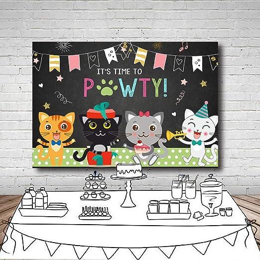 5x5FT Vinyl Photo Backdrops,Cats,Funny Cute Colored Cartoon Photoshoot Props Photo Background Studio Prop