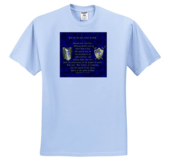 Amazon.com: 777images Designs Graphic Design Bible Verse - Ephesians 6: 10, 14, 15; Put On Full Armor Of God; breastplate, Shield, Swords - T-Shirts - Light ...
