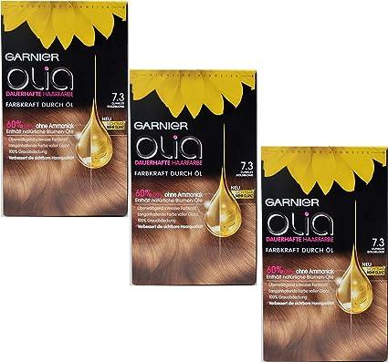 3 x Garnier Olia pelo Color 7.3 Oro Rubio Oscuro, contiene 60 ...