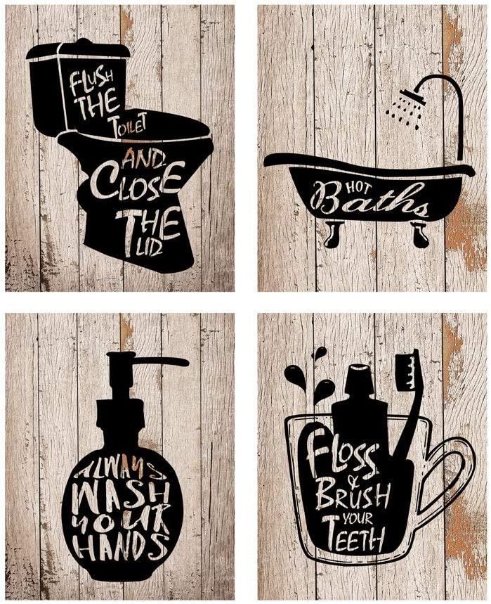 Funny Bathroom Decor Wall Art Prints with Frameless ;Funny Bathroom Sign 8×10 inch set of 4 (Black and Board color)