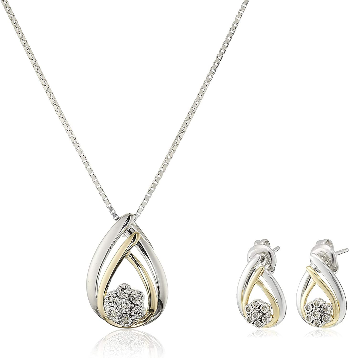 ".925 Sterling Silver 1/10 Cttw Diamond Miracle Plate Teardrop 18"" Pendant Necklace and Stud Earrings Set (I-J Color, I2-I3 Clarity)"