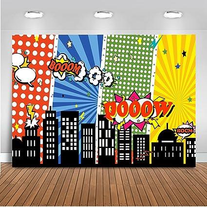 Mehofoto foto de cumpleaños superhéroe telón de fondo 7x5ft paisaje urbano dibujos animados supercity edificios altos telones de fondo sin costura ...