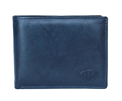 Cartera billetera de hombre en piel con monedero marca Anna & Robert Antique (azul)