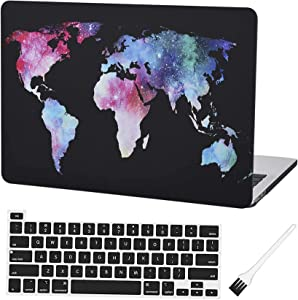 Laptop Plastic Hard Case MacBook Pro 13 Inch 2020 A2251 A2289 Matte Rubberized Hard Shell Cover with A2251 A2289 Keyboard Cover and Dust Brush (World map)