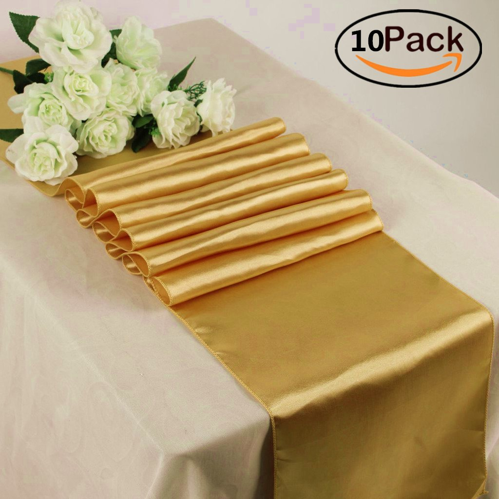GFCC Pack of 10 Satin Table Runners 12 x 108 Inches for Summer Events, Gold