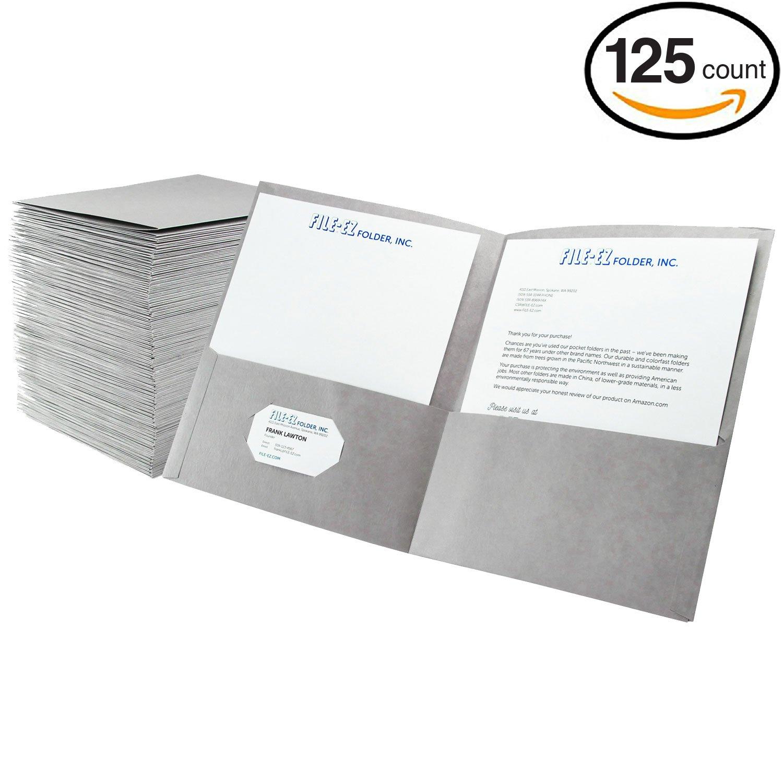FILE-EZ Two-Pocket Folders, Gray, 125-Pack, Textured Paper, Letter Size (EZ-32430)