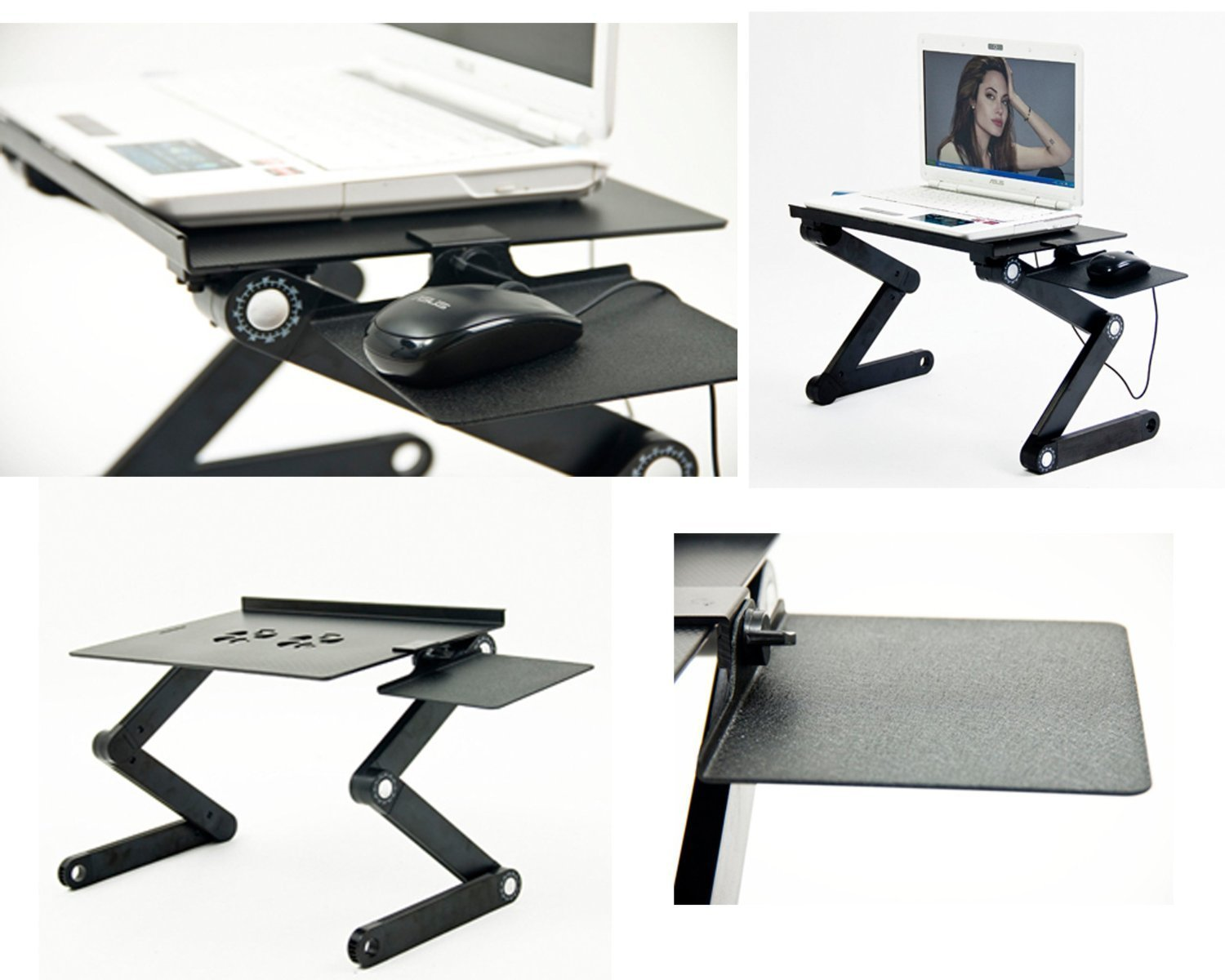 Amazon.com: Wetno™ Adjustable Vented Laptop Table Laptop Computer Desk  Portable Bed Tray Book Stand Multifuctional U0026 Ergonomics Design Dual Layer  Tabletop ...