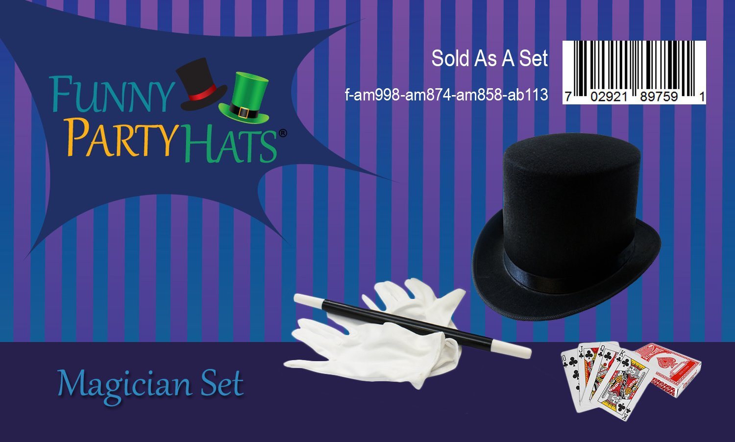 Magician Costume - 4 Pc Set, Magician Hat, Wand , Gloves & Bonus Cards - Magician Kit for Kids Funny Party Hats by Funny Party Hats (Image #6)