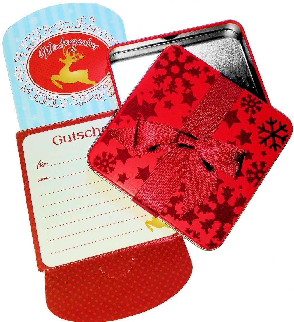 'Gift card Tin with Winter Magic in a festive flock Red with Snowflake/Christmas 10x10x1,5 cm Unbekannt 20369