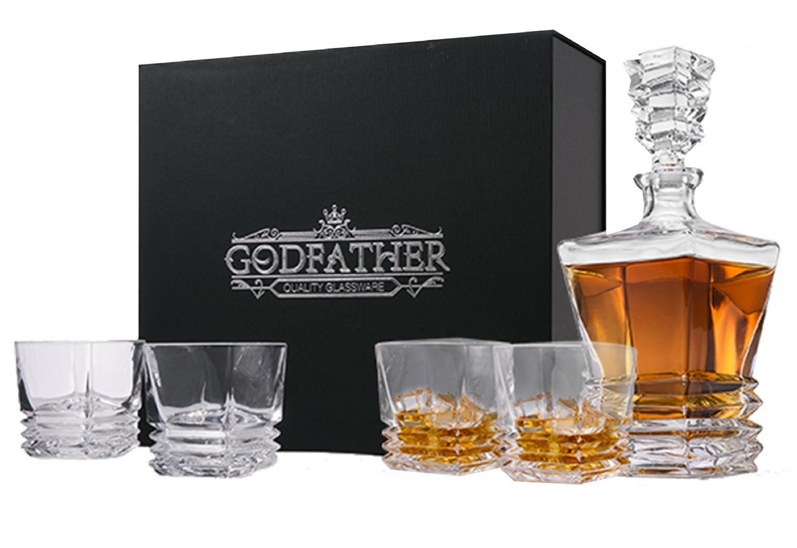 GODFATHER Pacific Whiskey Decanter Set 4 Glasses in Elegant Gift Box, Unique European Lead-Free Crystal Barware Classic 27Fl oz Liquor Decanter 4 Old Fashioned Glasses Whisky Scotch Bourbon Rum
