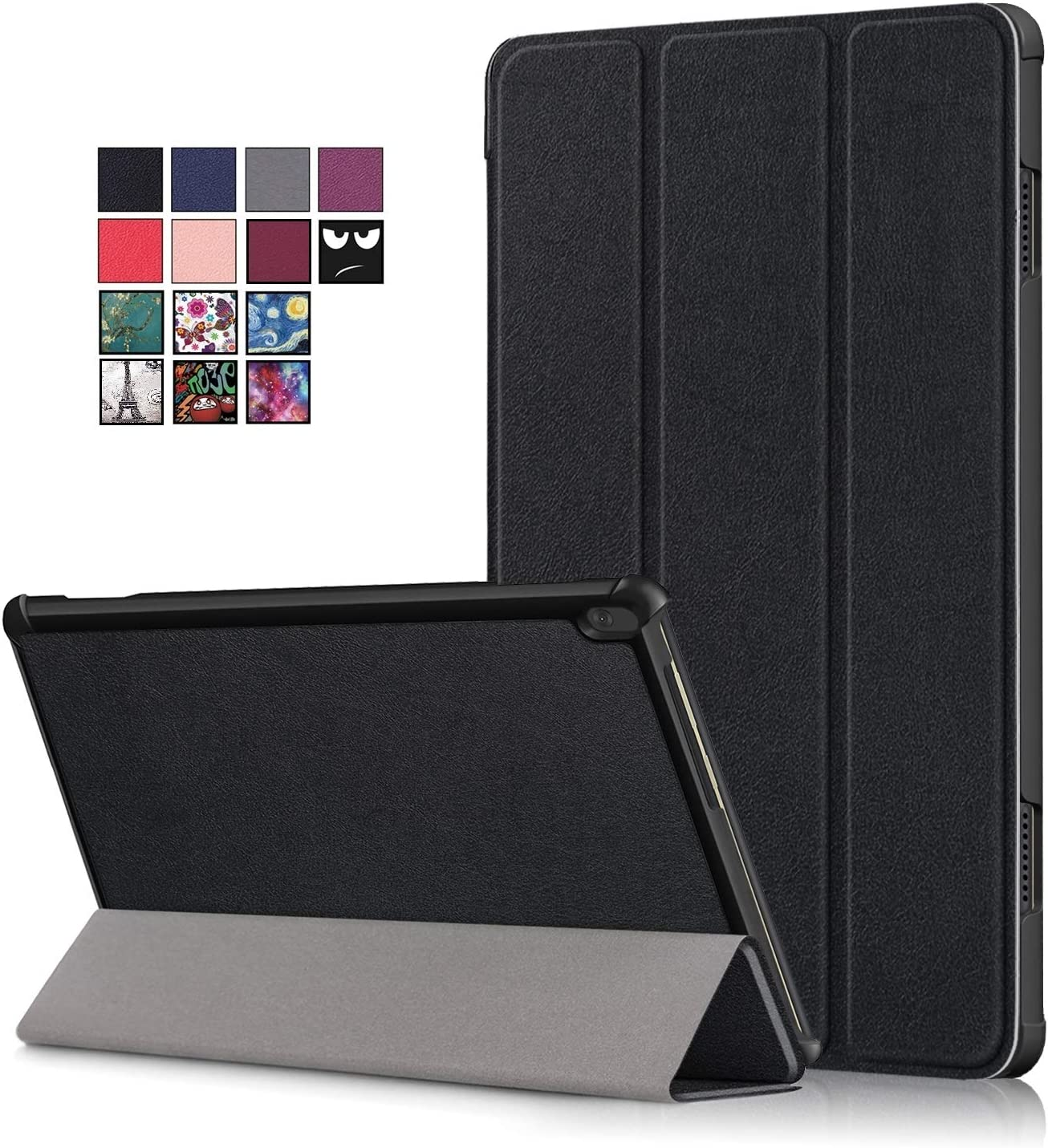 10.1 inch Tablet Case for Lenovo Tab M10 (TB-X505F/ TB-X605F), DETUOSI Ultra Slim Premium Folding Stand Cover Lenovo Tab M10 Case for Lenovo 10.1 inch Tablet Model: 2019 TB-X505F & 2018 TB-X605F,Black