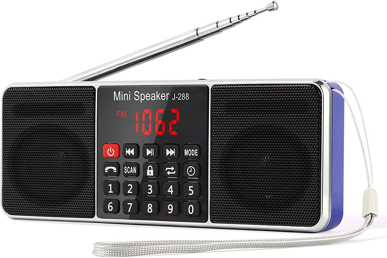 L-288 Radio portátil FM Am con Altavoz estéreo Bluetooth, Temporizador de Apagado, estación de Bloqueo, Tarjeta USB y TF y Reproductor de MP3 AUX, por PRUNUS(Azul): Amazon.es: Electrónica