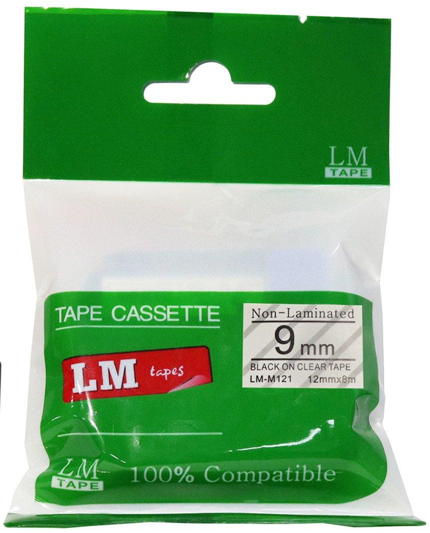 LM Tapes - 3/8 (9mm) Black on Clear Compatible M Tape for Brother PT-65, PT65 Label Maker