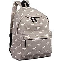 Miss Lulu Backpack School Bag Horse Canvas Rucksack Travel Shoulder Bag Fashion Daypack (Grey Backpack 1401H)