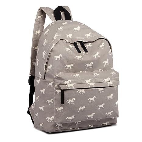 78989eb77e6f Miss Lulu School Backpacks Canvas Bookbag Cute Printed Leisure Backpack for Teenage  Girls (1401H Horse
