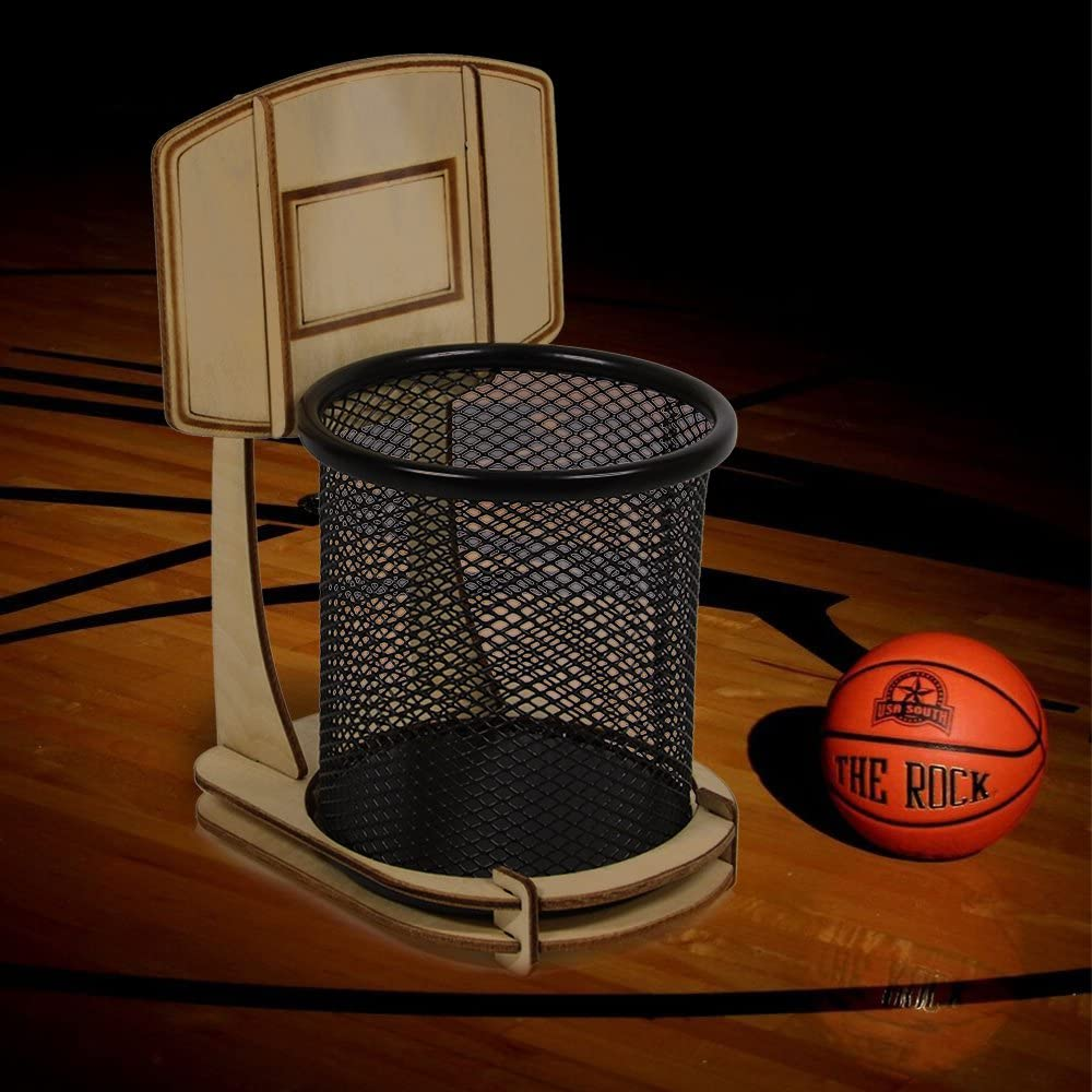 DIY Wooden Office Basketball Stand Pen Holder Desk Organizer Office Accessories Pencil Holder Table Decoration Sport for Basketball Fans