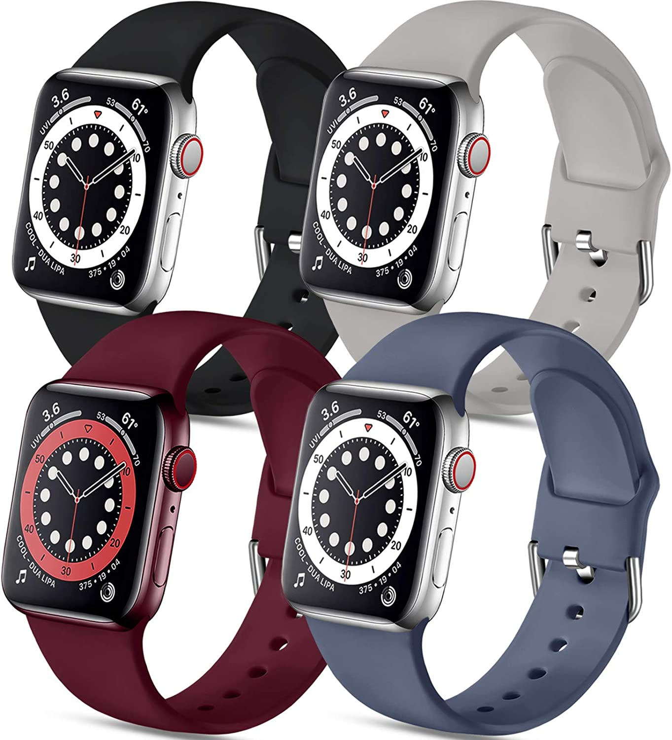 Muranne Compatible with Apple Watch Band 40mm 38mm 44mm 42mm for Women Men, 4 Pack Soft Silicone Replacement Wrist Strap Compatible with iWatch SE Series 6 Series 5 4 3 2 1 All Models