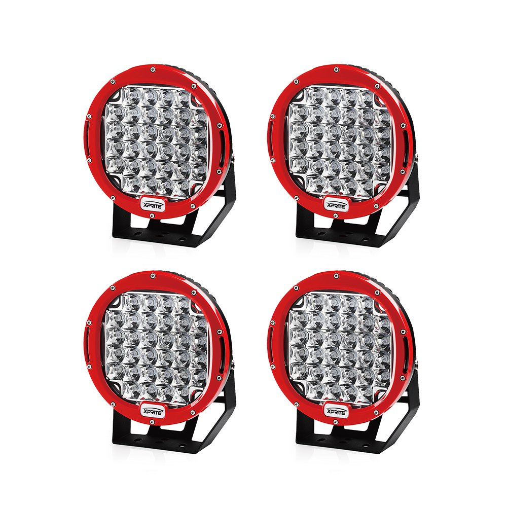 Amazon.com: Xprite 96 Watt 9-inch Cree LED Fog Spotlight and Round Work Lamp with Roof Bar Bumper (4-Pack, Red): Automotive