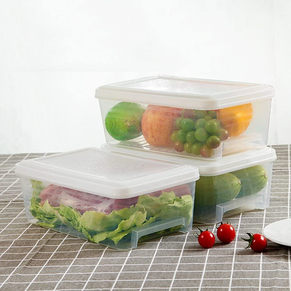 QFFL shounahe Refrigerator Rectangle Drawer Type Storage Box/Kitchen Plastic Food Crisper/Large Capacity Classification Finishing Box/Lidded Freezer Box (A Pack of 3) (Color : C)