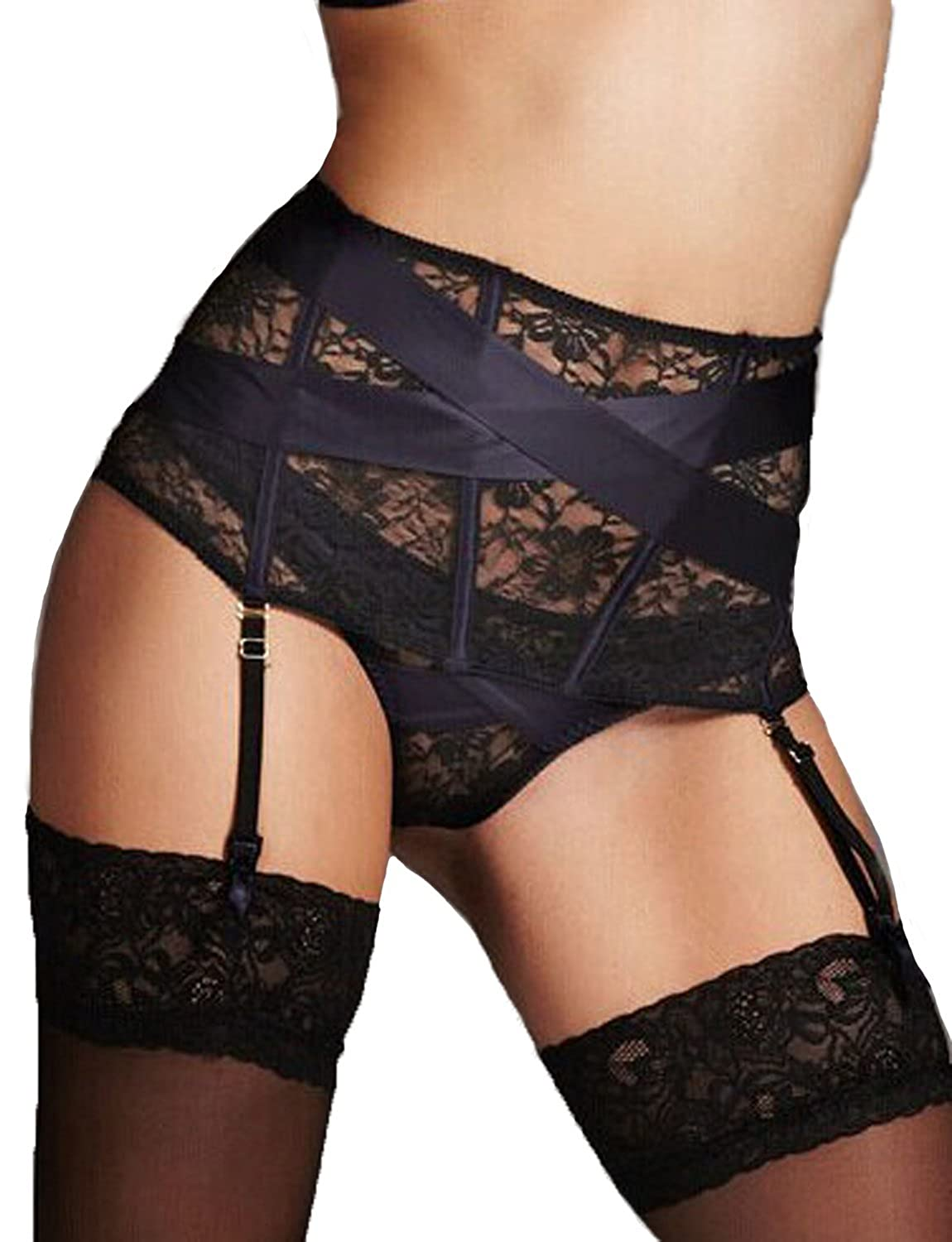 Yummy Bee Suspender Belt Waspie High Waisted Lace Lingerie Set G String Plus Size 8-22