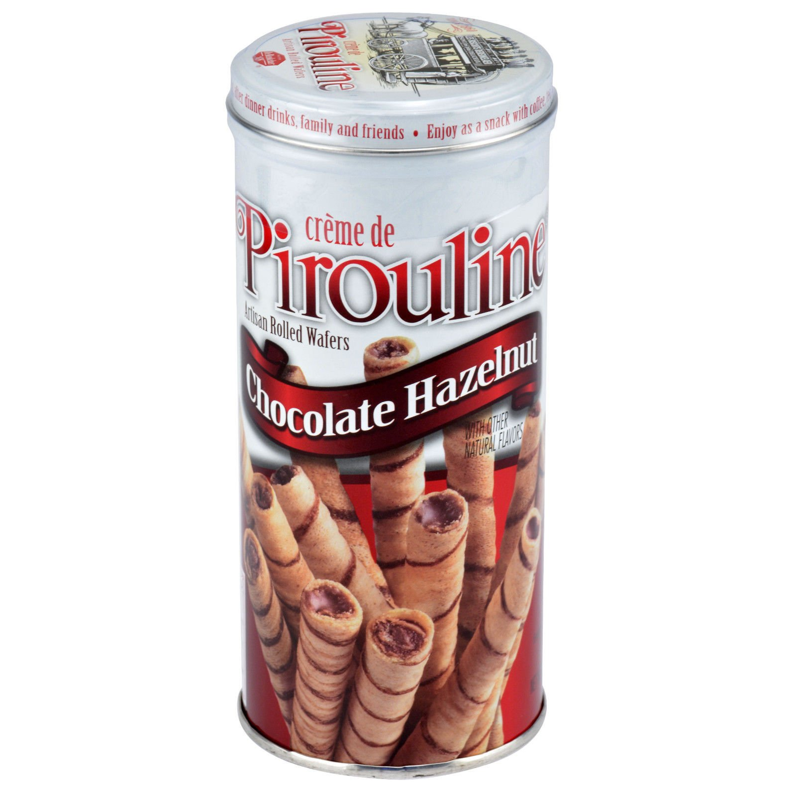 (Pack of 4) 3.25oz Tin Chocolate Hazelnut Pirouline Cream Filled Wafer Cookie (Comes with Free How to Live Stress Free Ebook)