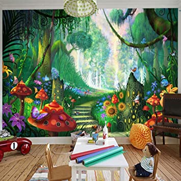 Amazon Com Custom Mural Wallpaper 3d Cartoon Fairy Forest Mushroom