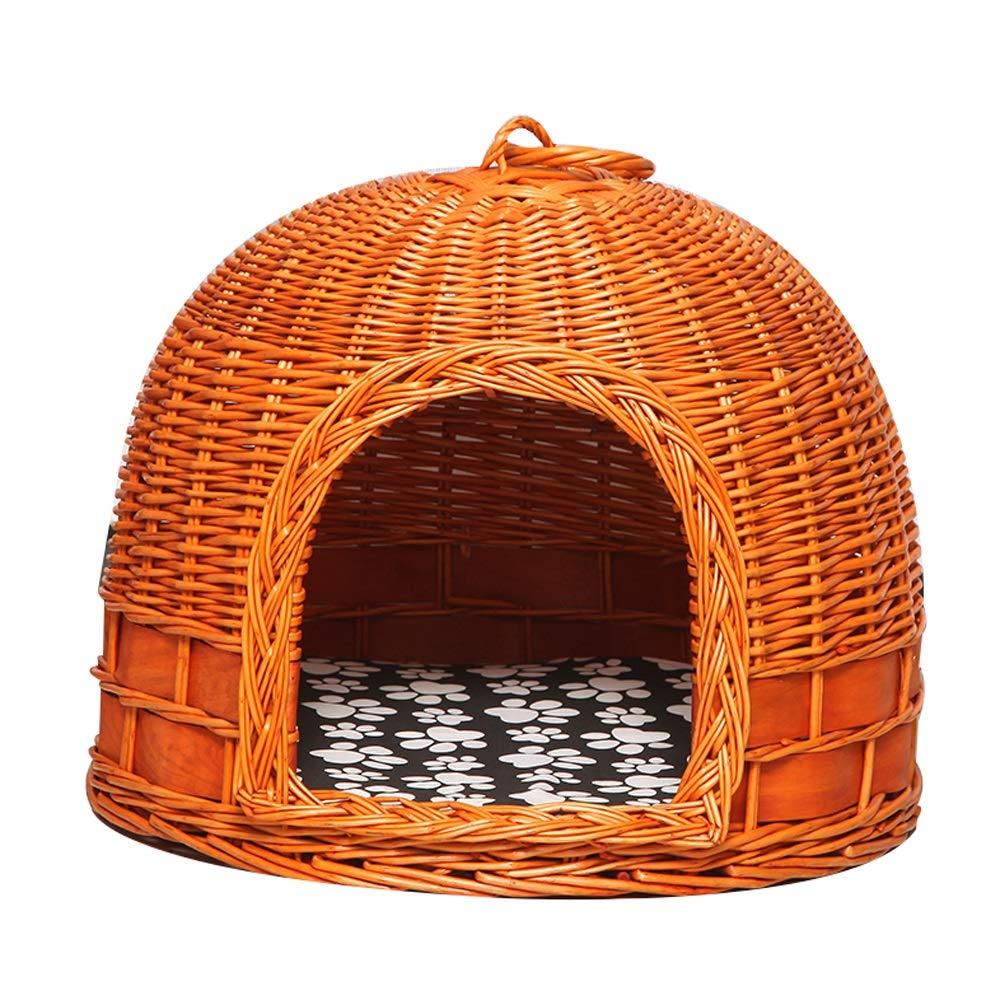 Honey color A Honey color A Pet Nest Rattan Cat Litter Four Seasons Universal Cat Nest Cat House Cat Cage House Kennel (color   Honey color, Size   A)