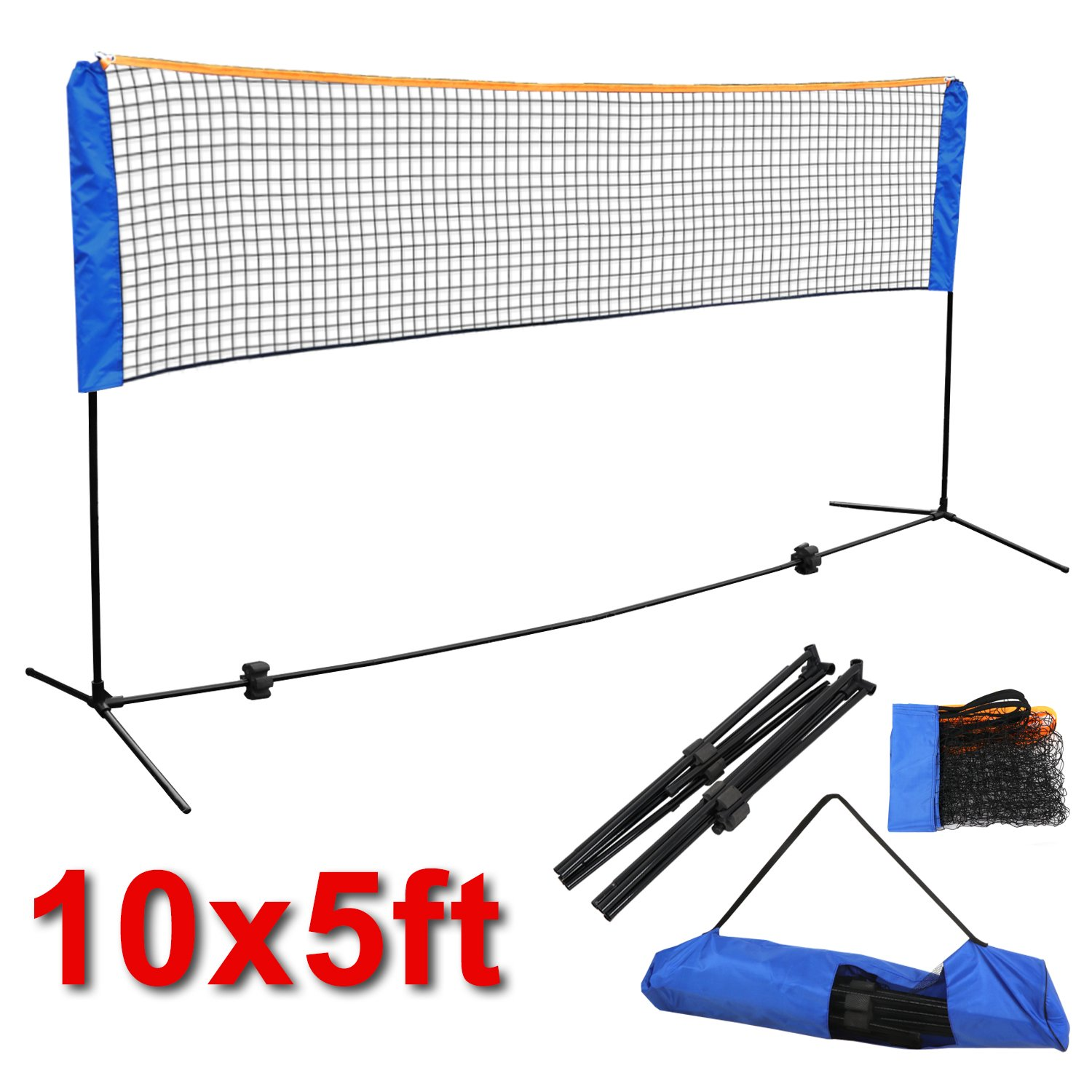 Smartxchoices 10ft Portable Badminton Net and Frame Set Professional Volleyball Training Practice Net with Poles Height Adjustable Net with Carrying Bag