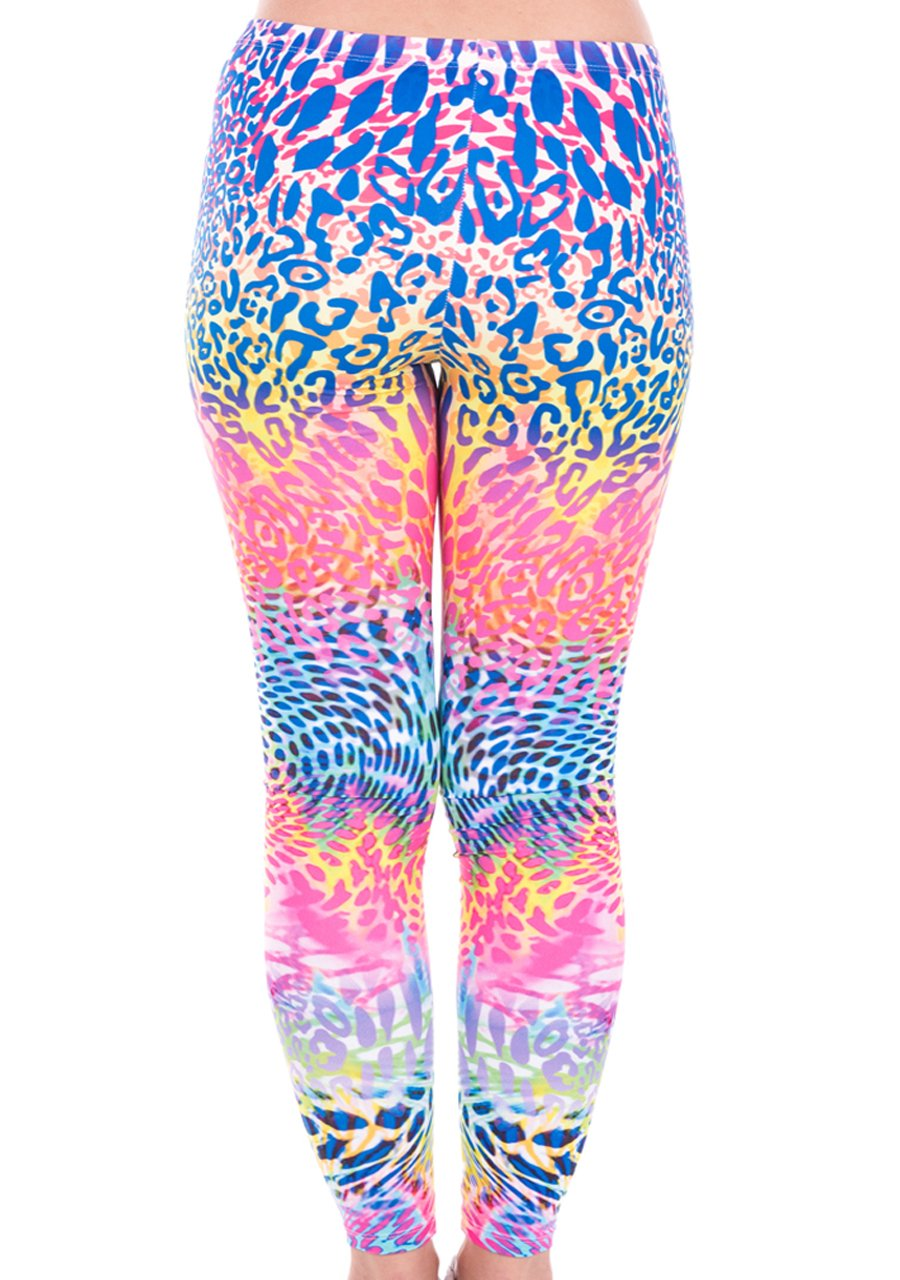 CHIC DIARY Mode Legging Femme Fille Grande Taille Extensible Longue Comfort Motif Multicolore pour Yoga Sport Shopping(Dessin léopard fluorescent)