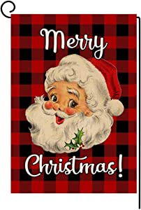 BLKWHT Christmas Santa Claus Garden Flag 12.5 x 18 Vertical Double Sided Red Black Buffalo Plaids Winter Outdoor Decorations Burlap Small Yard Flag S1042